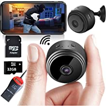 Mini Spy Camera Wireless Hidden Home WiFi Security Cameras with App 1080P, Bundle 32GB SD Card + USB Reader + Adaptor. Night Vision Indoor Outdoor iPhone/Android Phone Small Nanny Cam for Cars etc