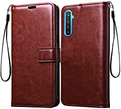 Tingtong Vintage Leather Flip Cover Case for RealMe XT/RealMe X2 | Inner TPU | Foldable Stand | Wallet Card Slots - Walnut Brown
