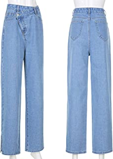 Cool Hip-Hop Baggy Jeans High Waist Lightweight Women's Loose Fit Denim Pants Fashion Solid Color All-Match Trousers