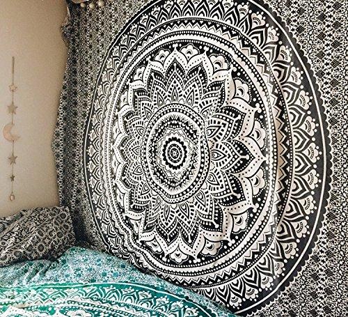 Noir et dor/é Collection unique RawyalCrafts D/écoration dint/érieur Tapisserie//couvre-lit original /à motif mandala indien//hippie