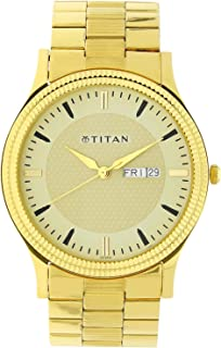 1650YM04 ساعة تيتان كاريشما للرجال ، تقويم ، 30 متر مقاومة للماء ، ستانلس ستيل ، ذهبي