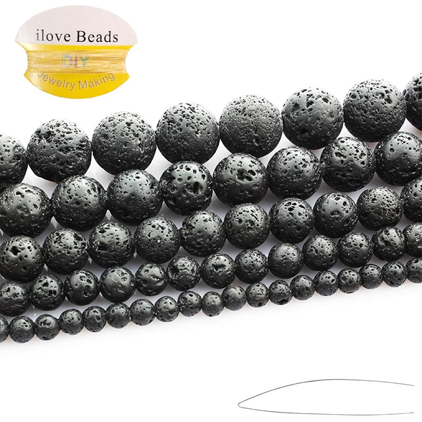 "ILVBD Natural Round Black Lava Stone Volcano Stone Loose Beads Bulk 4/6/8/10/12/14MM Wholesale for Jewelry Making 15"" (10MM)"