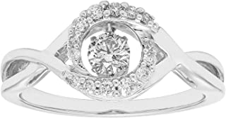 Brilliance in Motion 14K White Gold Dancing Diamond Halo Ring (2/5 cttw, I Color, I1 Clarity)