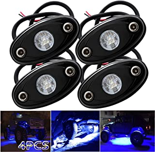 LEDMIRCY LED Rock Lights Blue Kit for JEEP Off Road Truck ATV SUV Boat Car Auto High Power Underbody Glow Neon Trail Rig Lights Underglow Lights Waterproof Shockproof(Pack of 4,Blue)