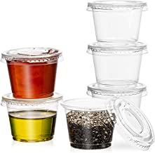 [100 Pack] 1 oz. Clear Plastic Disposable Portion Cups with Lids - Available in 2oz, 4oz- Condiment cups, Sauce and Dip Co...