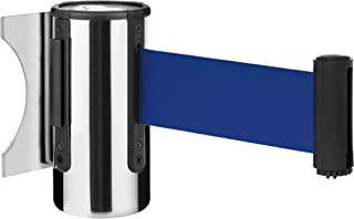 """DuraSteel Crowd Control Wall Barrier - Wall Mount 96"""" Blue Retractable Belt w/ Chrome Body - Safe Braking System and Locking Button - Used in Retail Stores, Airports, Banks, Restaurants, Hotels"""