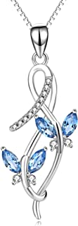 AOBOCO Butterfly Series Necklace Simulated Birthstone Crystal from Swarovski