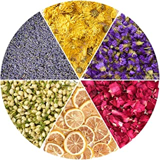 HAIOPS Dried Flowers Soap Making Scents Kits Rosepetals, Lavender, Gold-Chrysanthemum, Forget-Me-Not, Lemon Slice, Jasmine...