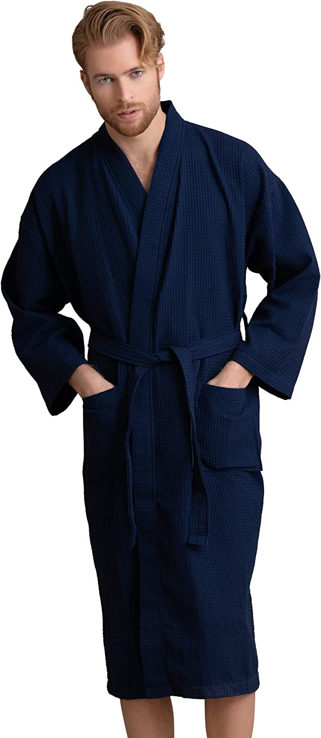Handsome Waffle Spa Cheap bargain Bathrobe Price reduction for Luxurious P Square Pattern Men.