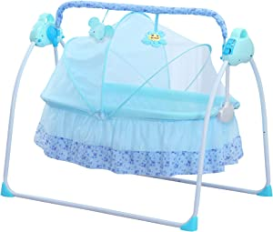 CBBAY Electric Cradle Baby Swing Bed Automatic Bassinet Basket Crib Newborn Rocking Multifunction (Blue)