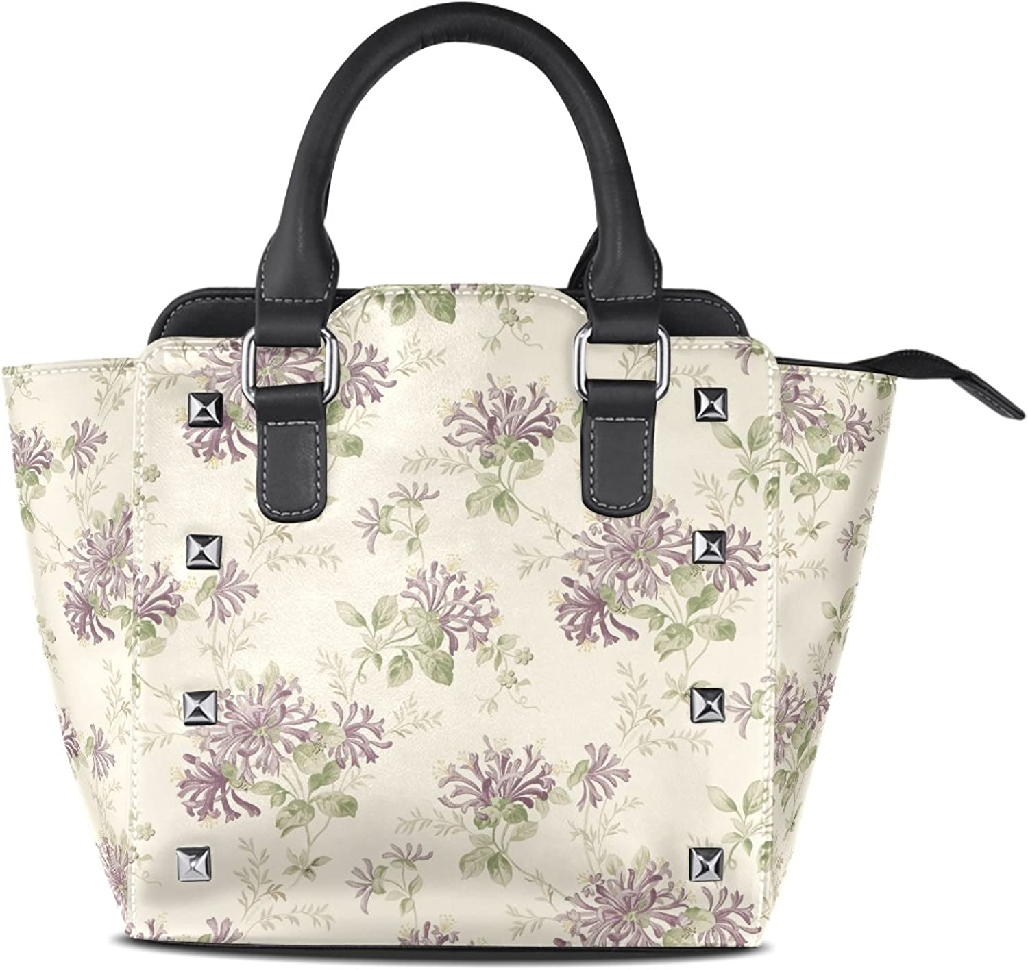 Sunlome Honeysuckle Trail Grape Floral Print Women's Leather Tote Shoulder Bags Handbags