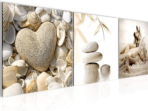 Runa Art – Bilder Strand Steine 120 x 40 cm Vlies Leinwandbild Beige Mehrteilig Moderne Wanddeko 501633a