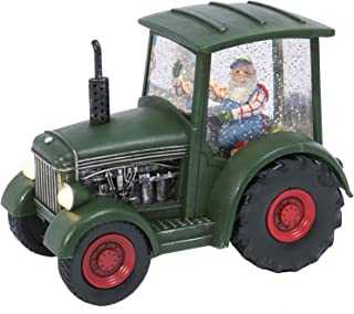 Gerson Green Farm Tractor Snow Globe with Santa Driving Lighted Spinning Water Globe with Swirling Glitter