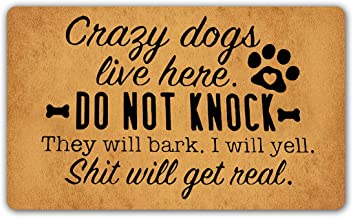 DoubleJun Funny Doormat Crazy Dogs Live Here Do Not Knock They Will Bark Entrance Mat Floor Rug Indoor/Outdoor/Front Door ...