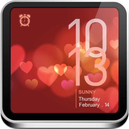 Valentine's Day Clock - Beautiful Animations, Alarm, Weather, News, & Flashlight