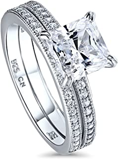 BERRICLE Rhodium Plated Sterling Silver Princess Cut Cubic Zirconia CZ Solitaire Engagement Wedding Ring Set 2.24 CTW