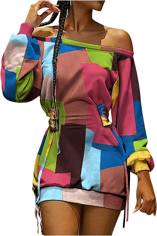 Womens Off The Shoulder Dress Sexy Wrap Mini Dress Tunic Short D