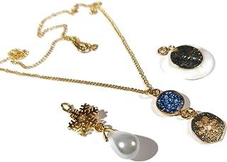 Collana NEVE intercambiabile resina oro madreperla paillettes avorio fiocco di neve regali personalizzati cerimonia di com...