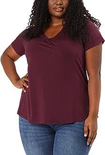 Agnes Orinda Plus Size T Shirts for Women V Neck Lace Contrast Shoulder Box Pleat Peplum T Shirt