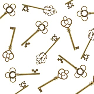 Antique Style Bronze Brass Skeleton Castle Dungeon Pirate Keys for Birthday Party Favors, Mini Treasure Toy Gifts, Medieval Middle Ages Theme (30 Pieces) (Gold)