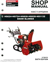 6176861E7 Honda HS624 HS724 HS828 HS928 HS1132 Snowblower Shop Manual