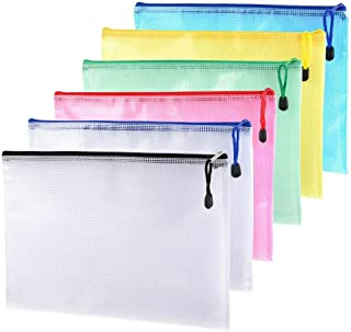 6 Pcs A4 Plastic Zipper Pen File Document Folders Seal Bags Document Bag Pockets Wallets Blue