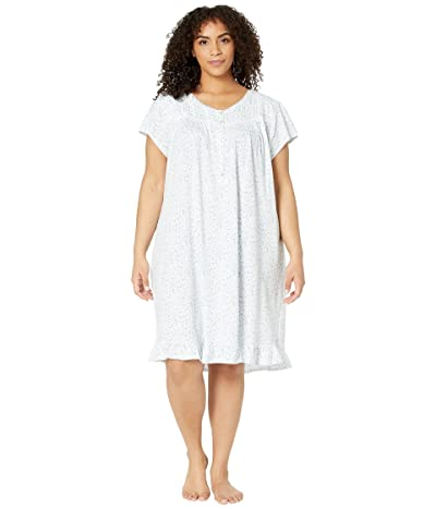 Eileen West Plus Size Cotton Jersey Knit Short Sleeve Short Nightgown (White Ground/Multi Scroll) Women