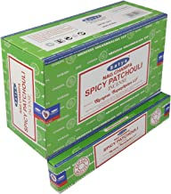 Satya Spicy Patchouli Incense Sticks 12 Packs of 15 g Approx. 180 Sticks
