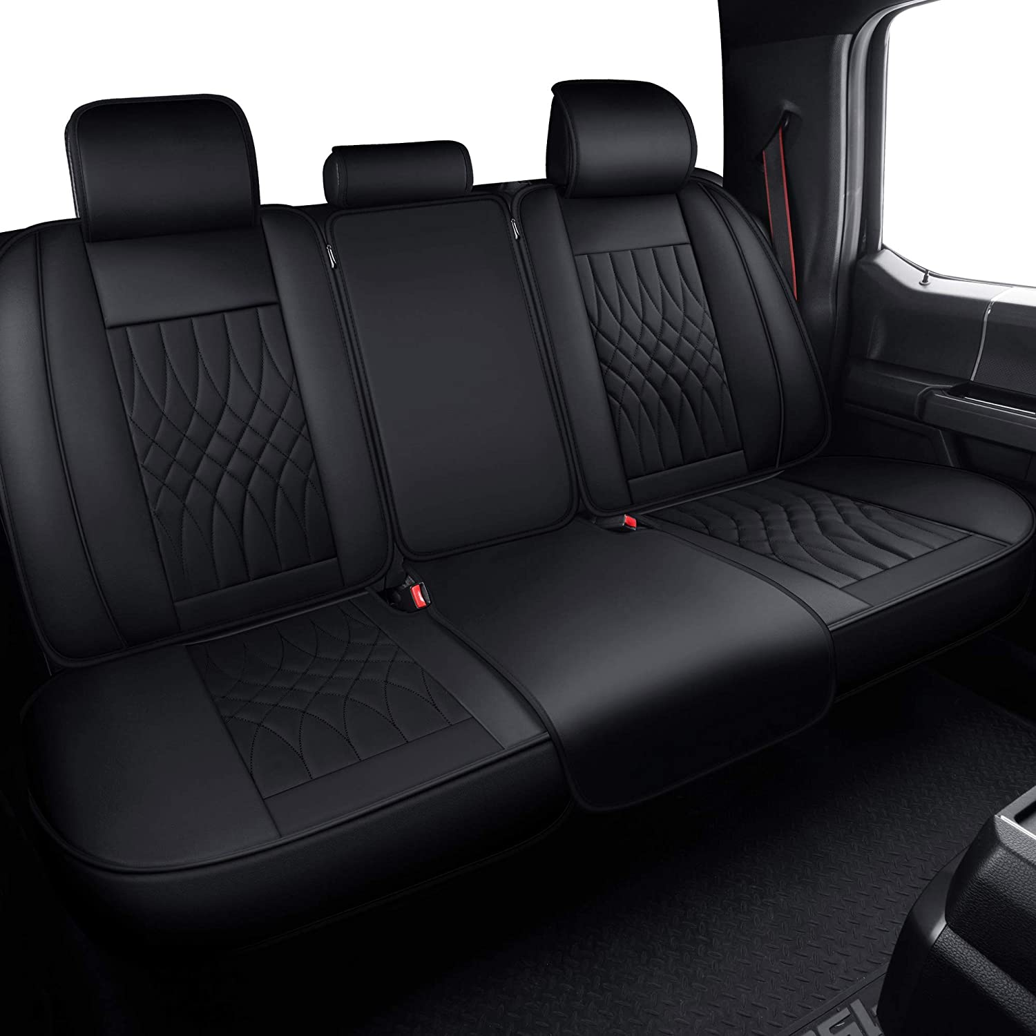 LUCKYMAN CLUB Front and Back Seat Covers fit for Ford F-150 F150 Crew Cab from 2015 to 2020 and fit for F250 F350 F450 Crew Cab from 2017 to 2020 with Faux Leather Black /& Red Full Set