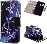 F�r Samsung Galaxy A40 H�lle Lader Tasche PU Lader H�lle Gemalt Muster Flip Brieftasche Kartenhalter Magnetschnalle St�nder Sto�fest Kratzfest Sto�stange Handyh�lle Lila Schmetterling