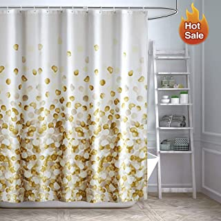 ARICHOMY Yellow Shower Curtain Set Bathroom Fabric Curtains Waterproof Golden Funny with Standard Size 72 by 72 (Gold)