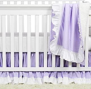 Brandream Baby Girls Crib Blanket Sets Cotton Baby/Newborn/Infant/Kids/Toddler Ruffle Purple Blanket Soild Baby Blanket for Nursery Crib, 100% Cotton
