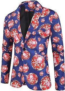 Men's One Button Printed Christmas Blazer Peak Lapel Party Sport Coat Costume Suit Jacket for Spring Winter