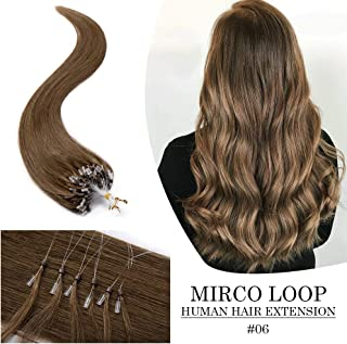 """Remy Nano Ring Human Hair Extensions Micro Beads Loop Pre Bonded Stick Shoelace Tips Hair Cold Fusion Long Straight Virgin Hair Extension 20"""" 50g 100 Strands One Pack #06 Light Brown"""