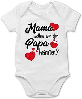 Shirtracer Mama wollen wir Papa heiraten Herzen - Baby Body Kurzarm für Jungen und Mädchen