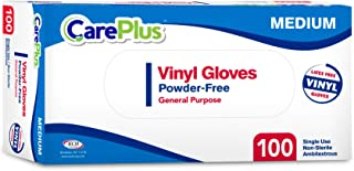 Disposable Vinyl Gloves Medium Size| Heavy Duty | Non Sterile | Powder Free | Latex Free Rubber | 100 Count Box |food Safe