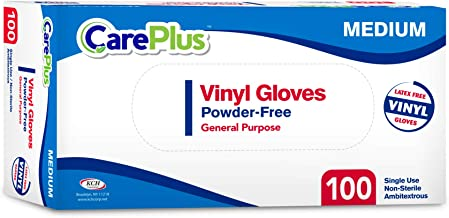Disposable Vinyl Gloves, Medium Size, Cleaning Gloves, Non Latex, Plastic Gloves, Food Service Gloves, Ambidextrous Gloves...