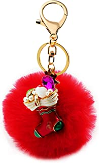 Uloveido Red Green Crystal Christmas Socks Jewelry Keyring for Girl Women YS858