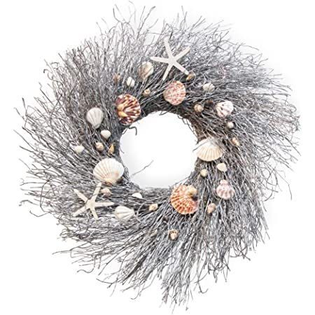 Mud Pie E1 Home Patio Door Decor Natural Beauties 15in Oyster Shell Wreath