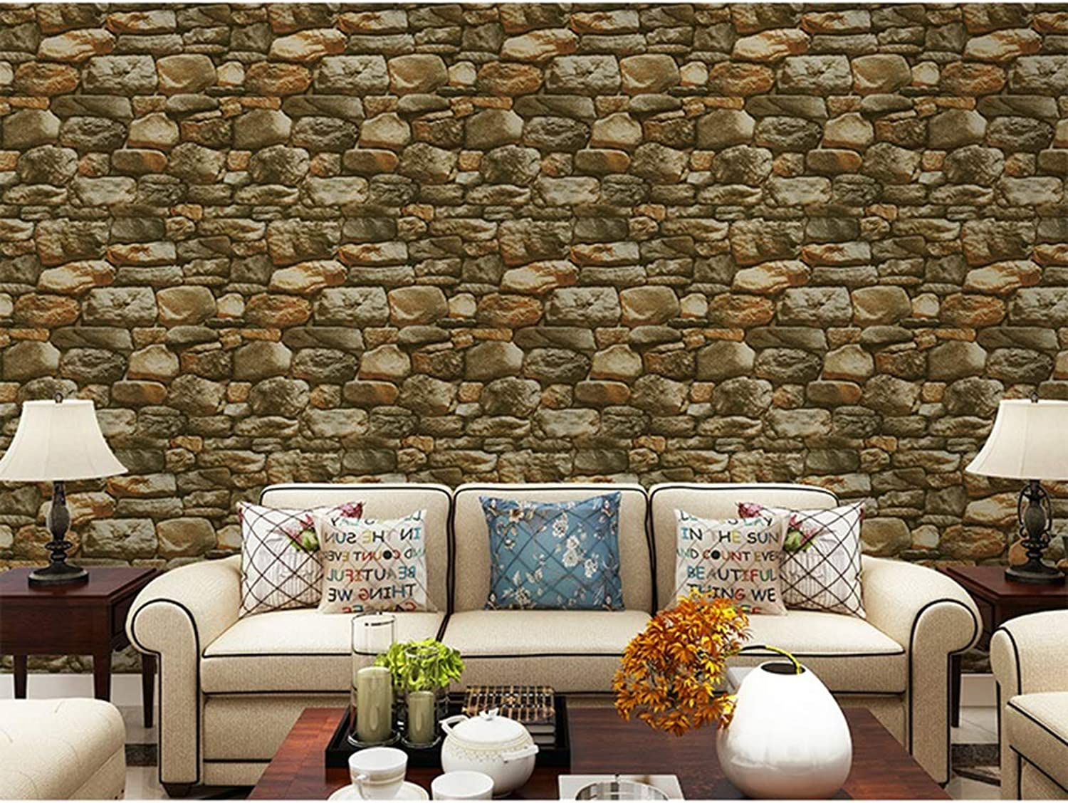 AMHD Wallpaper Personality Vintage Simulation Stone Wallpaper 3D Effect Waterproof PVC Wall Decoration Suitable for Bars Cafes Restaurants LMD011 (color   C, Size   393in20.8in)