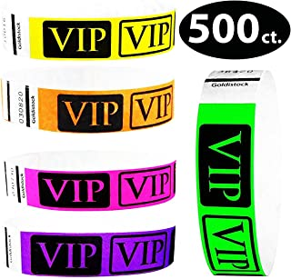 "Tyvek Wristbands – Goldistock VIP 500 Count Variety Pack B – ¾"" Arm Bands - 100 Each: Neon Green, Yellow, Pink, Orange & Purple Paper-Like Party Armbands - Heavier Tyvek Wrist Bands = Superior Events"