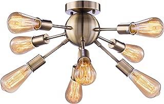 Vintage Semi Flush Mount Ceiling Light with 8 UL Sockets, Elibbren E26 Base Modern Antique Bronze Sputnik Industrial Ceiling Lamp Fixture for Kitchen Dining Room Bedroom Study Living Room