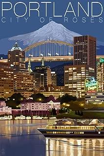 Portland, Oregon - Skyline at Night (9x12 Art Print, Wall Decor Travel Poster)