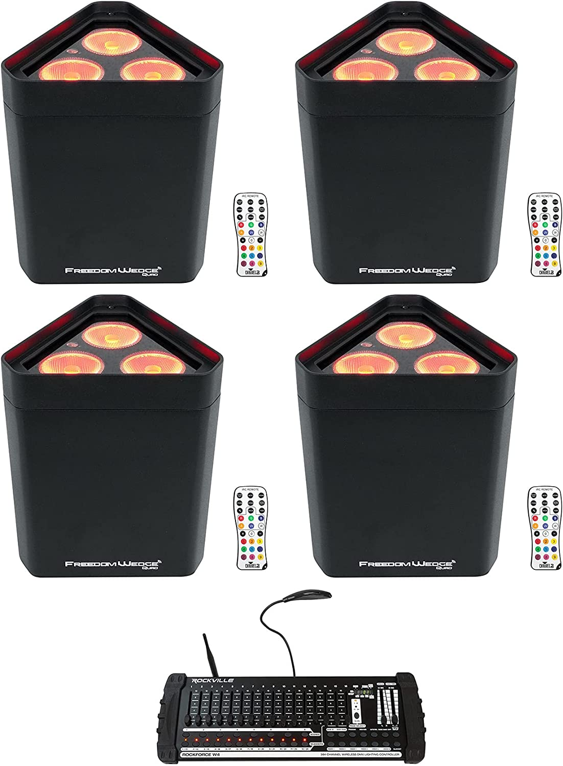 4 Chauvet Freedom Wedge Quad Sales of SALE items from new works Rechargeable w Wash Lights Safety and trust Bundle