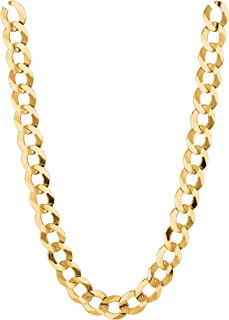 "R C I 10K Solid Yellow Gold Comfort Concave Cuban Curb Link Chain Necklace 7Mm 18""-30"" (24 Inches)"