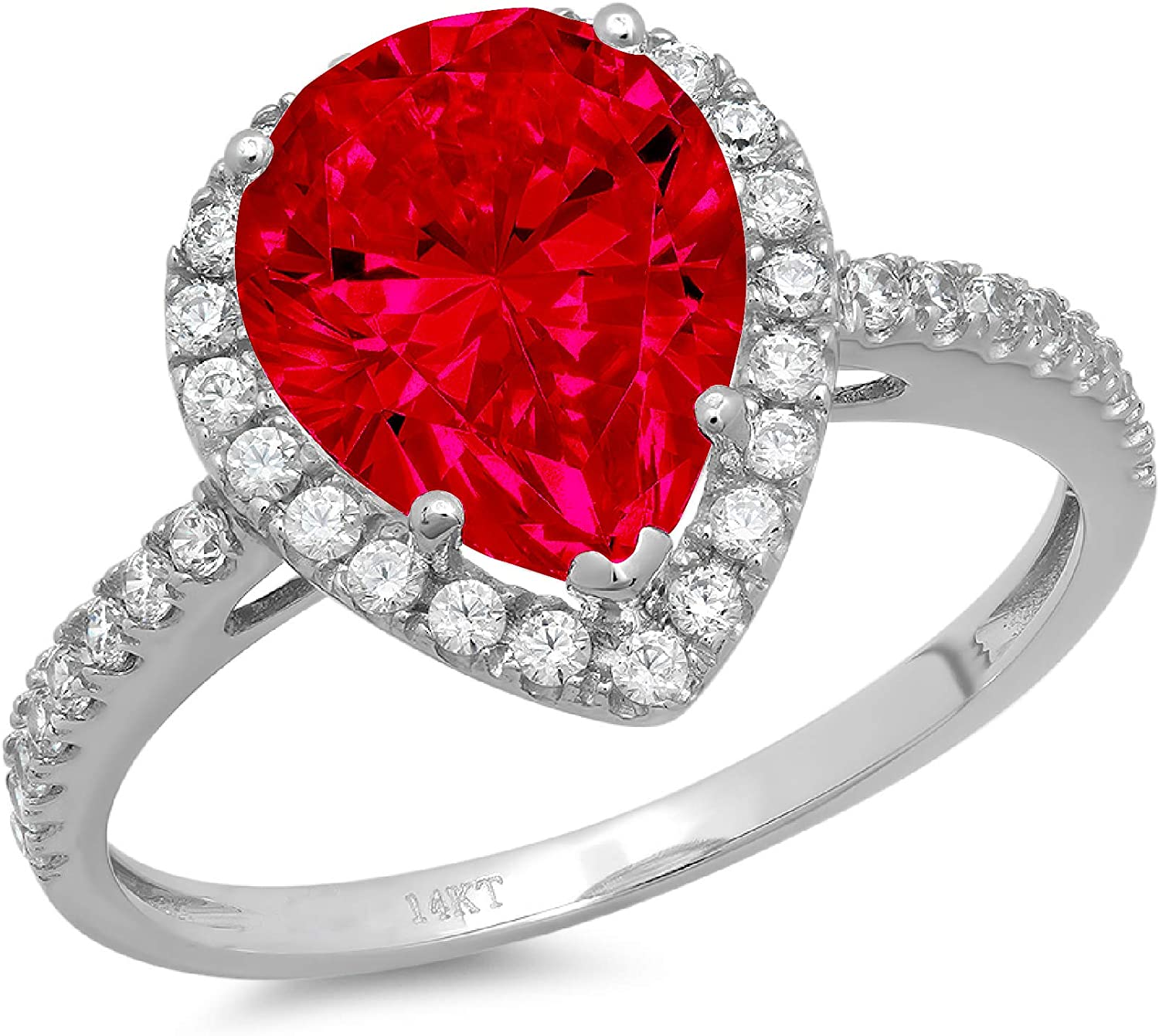 2.39ct Brilliant Pear Cut Solitaire with Accent Halo Flawless Ideal VVS1 Simulated CZ Red Ruby Engagement Promise Statement Anniversary Bridal Wedding Designer Ring 14k White Gold