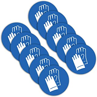 10 Stück Sicherheitshandschuhe Gebotszeichen Aufkleber Durchmesser 9,5cm Handschuhe tragen Sticker Gebotszeichen mit UV Schutz für Außen-und Innenbereich von STROBO