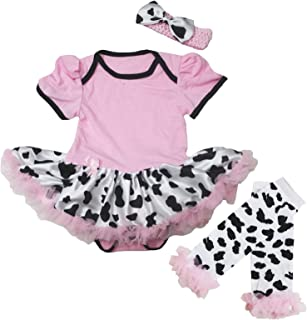 Petitebella Pink Bodysuit Cow Tutu Baby Dress Leg Warmer Outfit Nb-18m