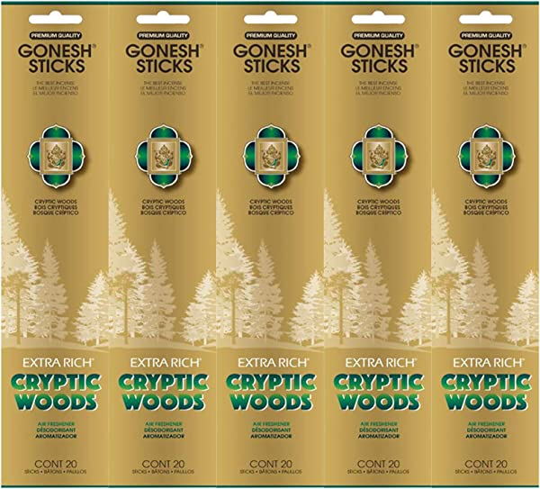 Gonesh Incense Sticks Extra Rich Collection Cryptic Woods 5 Packs 100 Total