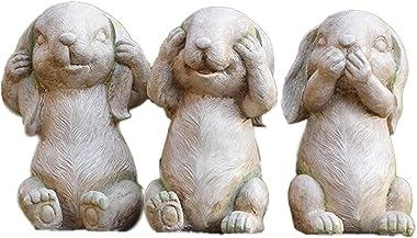 Desktop Sculpture Resin Sculpture 3pcs Don't Listen Or Don't Talk About Rabbit Statues Home Garden Potted Plants Outd